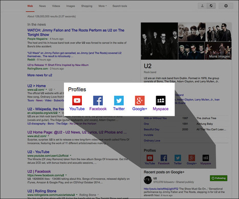 Google's Knowledge Graph Finally Shows Social Networks Not Named Google+ - Search Engine Land   Google+ tips and strategies   Scoop.it