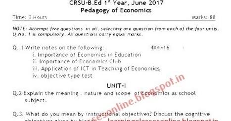 Online Class Room: B Ed Pedagogy of Economics Q