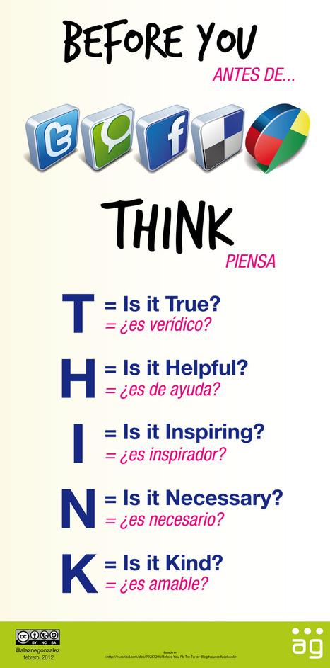 Piensa antes de utilizar las redes sociales [Infografía] ~ #PEDALÓGICA por @alaznegonzalez | MEDIA´TICS | Scoop.it