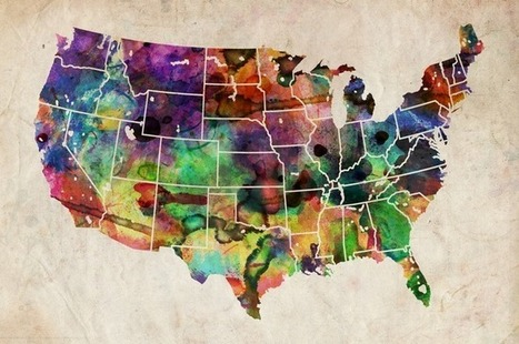 USA Watercolor Map | Geography Education | Scoop.it