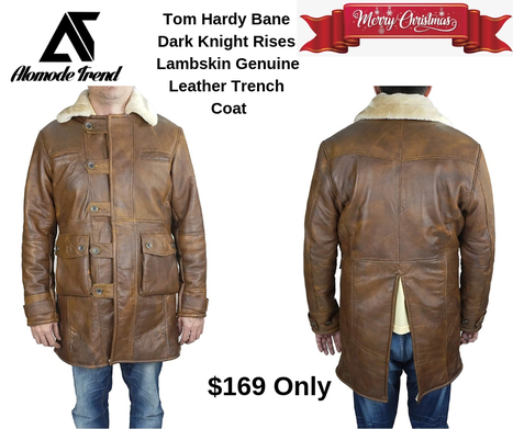 Dark Knight Rises Tom Hardy Lambskin Genuine Leather Trench Coat