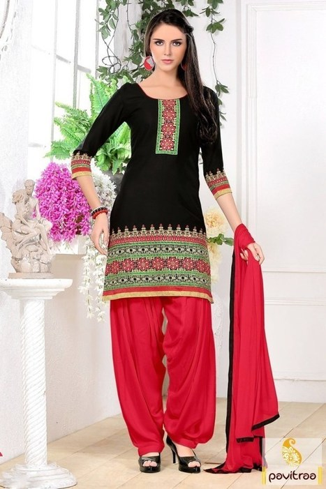 Fashions Myntra Black Red Cotton Formal Casual Salwar Kameez Online
