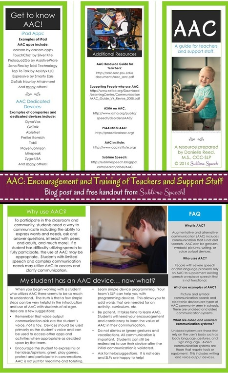 Sublime Speech: AAC: Encouragement and Training of Teachers ... | AT, UDL, AAC | Scoop.it