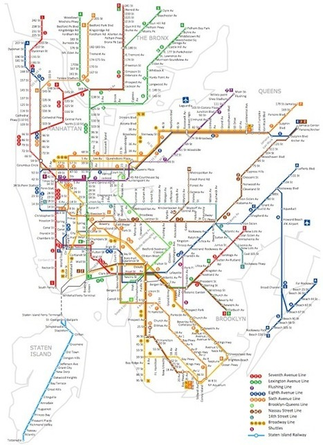 Metro Map Style | Metro Map style infographics - Sample - New York City Subway | Visualisation | Scoop.it