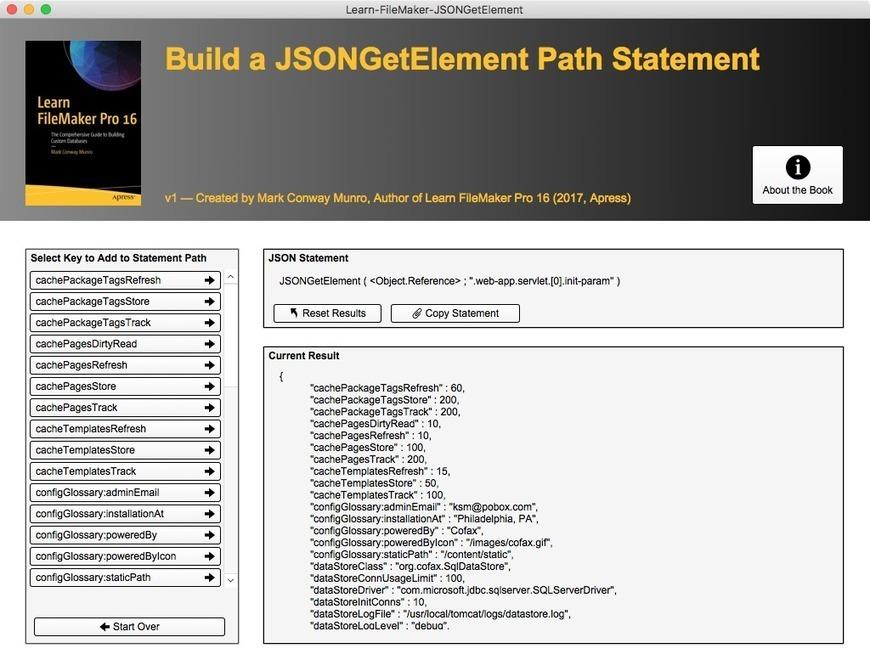 Learn FileMaker Pro : Build JSONGetElement Path