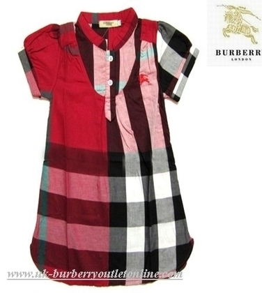 burberry outlet for kids 3eon  Burberry Classic Nova Check Stand Collar Kids Dress Red [B004239]
