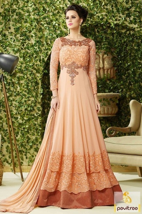 Peach A Line Indo Western Gown For Bridesmaid |...