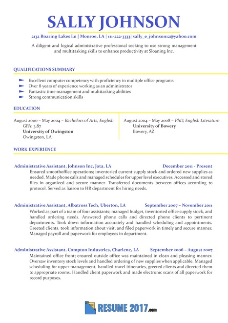 Admin Assistant Sample Resume 2018 Samples Us