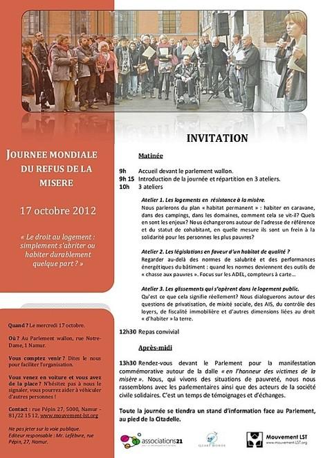 Journée mondiale du refus de la misère à Namur dédié au logement | Temps de la ville | Scoop.it