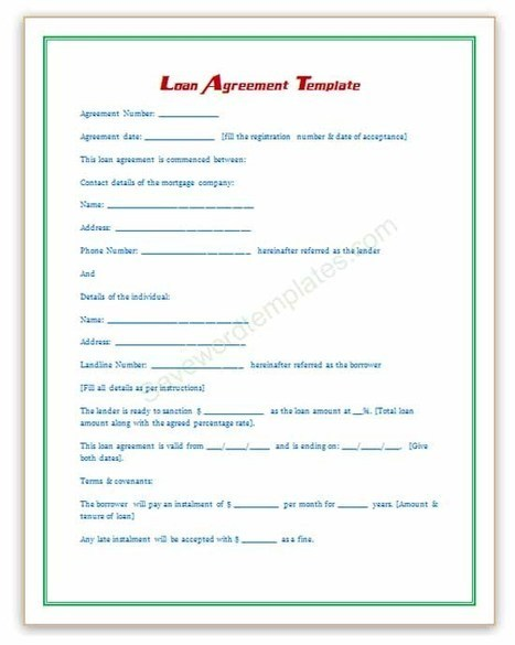 Doc468605 Agreement Format for Money Lending 5 Loan Agreement – Loan Template Agreement