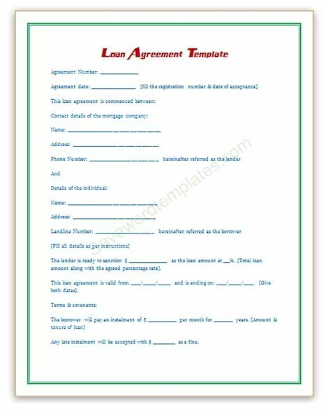 Doc468605 Loan Contract Template 5 Loan Agreement Templates – Free Personal Loan Agreement Form