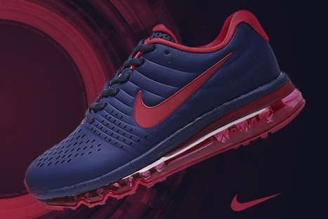 innovative design c3093 518ea Nike Air Max 2017 Dark Blue Red Leather Women Men Shoes  airmax2017-109