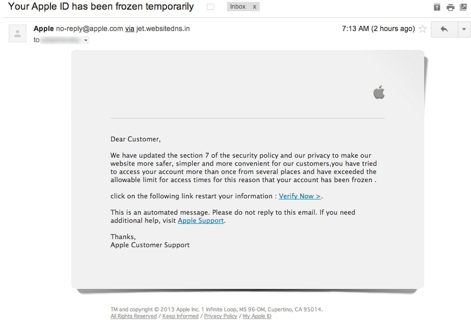 """Your Apple ID Frozen"""" Phishing Ema..."""