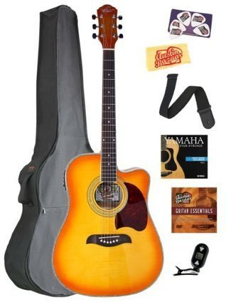 Pitch Pipe Customers First Luna Safari Series Acoustic Guitar Pack With Gig Bag Strap
