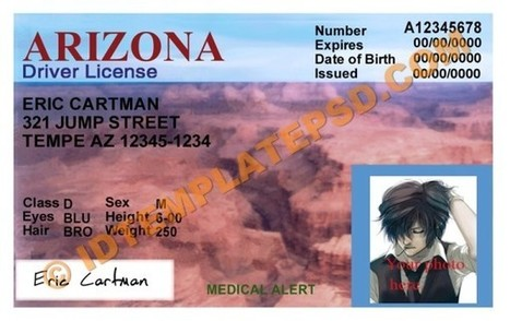 Arizona Template – Drivers License Psd Ph