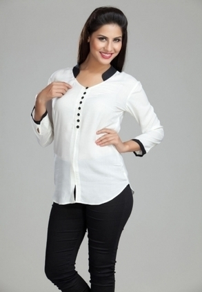 Find Best Discount Deals With Low Price On Designer Ladies White Shirt with  Black Collar (Only In Rs-1399 In White) At Best Online Designer Store. b7ed47328