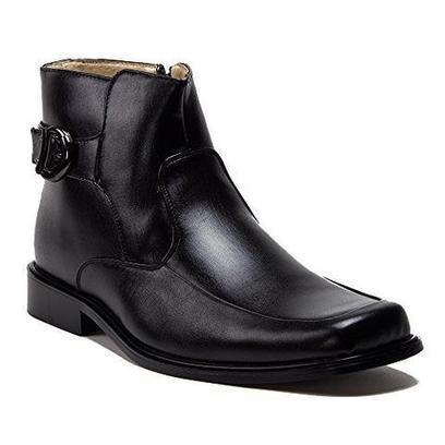 New Men s 38306 Leather Lined Ankle High Square Toe Buckle Accent Dress  Boots 6243c502322