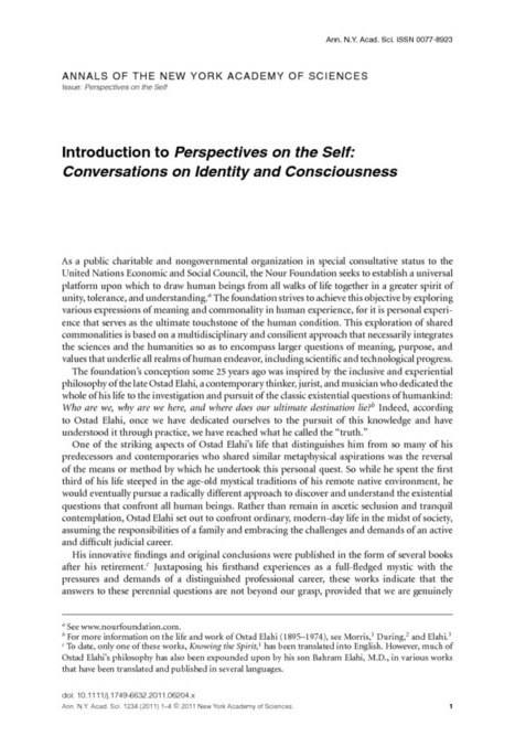 Introduction to Perspectives on the Self: Conversations on Identity and Consciousness - Rass - 2011 - Annals of the New York Academy of Sciences - Wiley Online Library | ethics, meaning, commonality, spirituality and science | Scoop.it