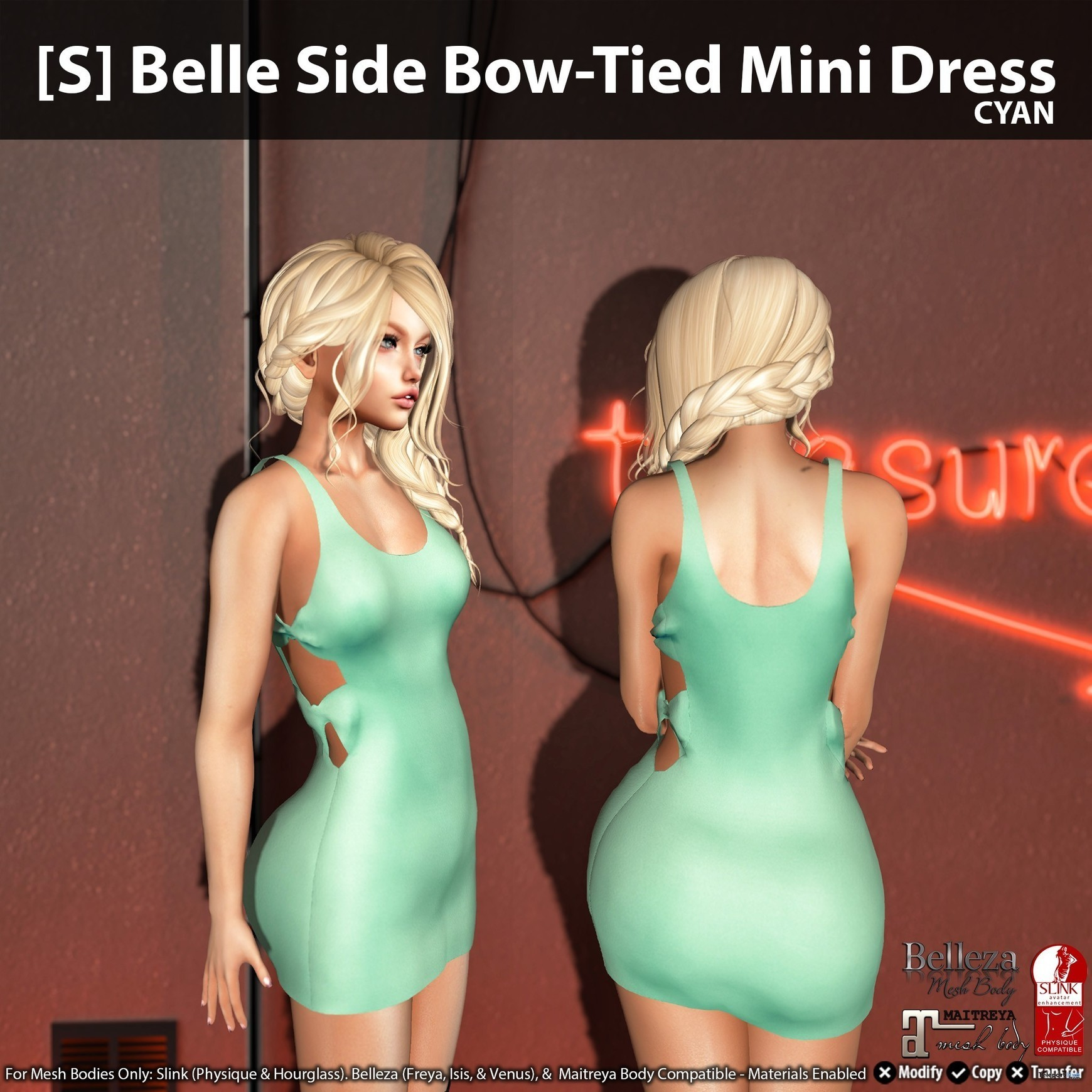 91095e0193d82 New Release   S  Belle Side Bow-Tied Mini Dress by  satus Inc