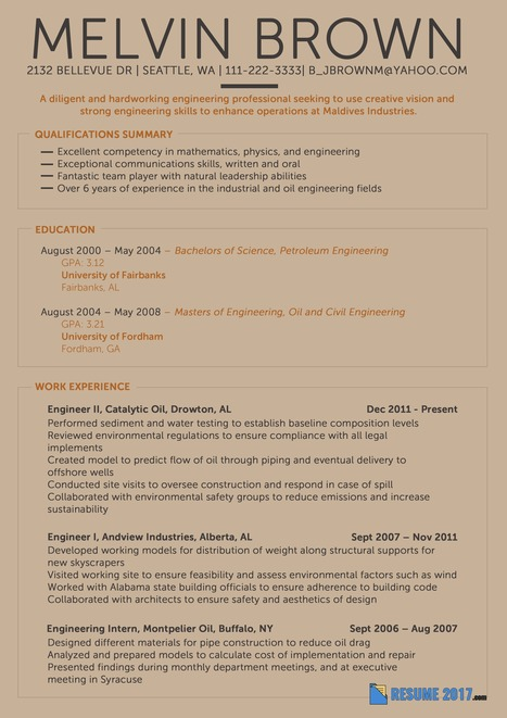 Engineering Resume Example 2018 Resume 2018 S