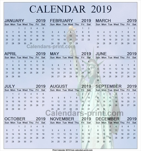 12 Month Calendar 2019 One Page To Print Free