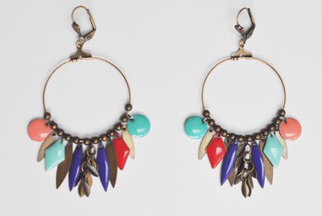 salvare il più grande sconto nuovo autentico Orecchini a cerchio con pendenti colorati | Ore...