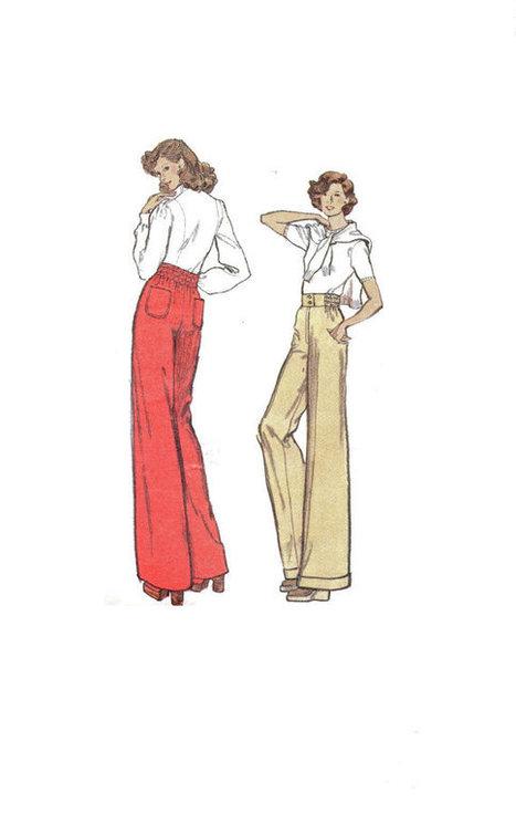 b3b76069f0 1970s Vogue 8629 Sewing Pattern High Waist Wide Leg Pants Bell Bottom  Trousers Turn Cuff Hem Waist 28