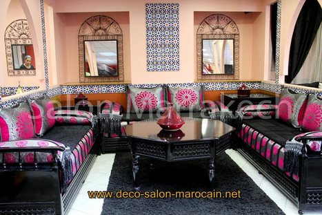 Salon marocain Bois Noir design moderne - D&eac...