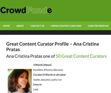 Great Content Curator Profile - Ana Cristina Pratas - CrowdFunde   Ana Cristina Pratas - E-Portfolio   Scoop.it