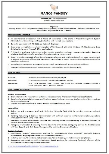 Over 10000 CV And Resume Samples With Free Download: Network Engineer  Resume Format