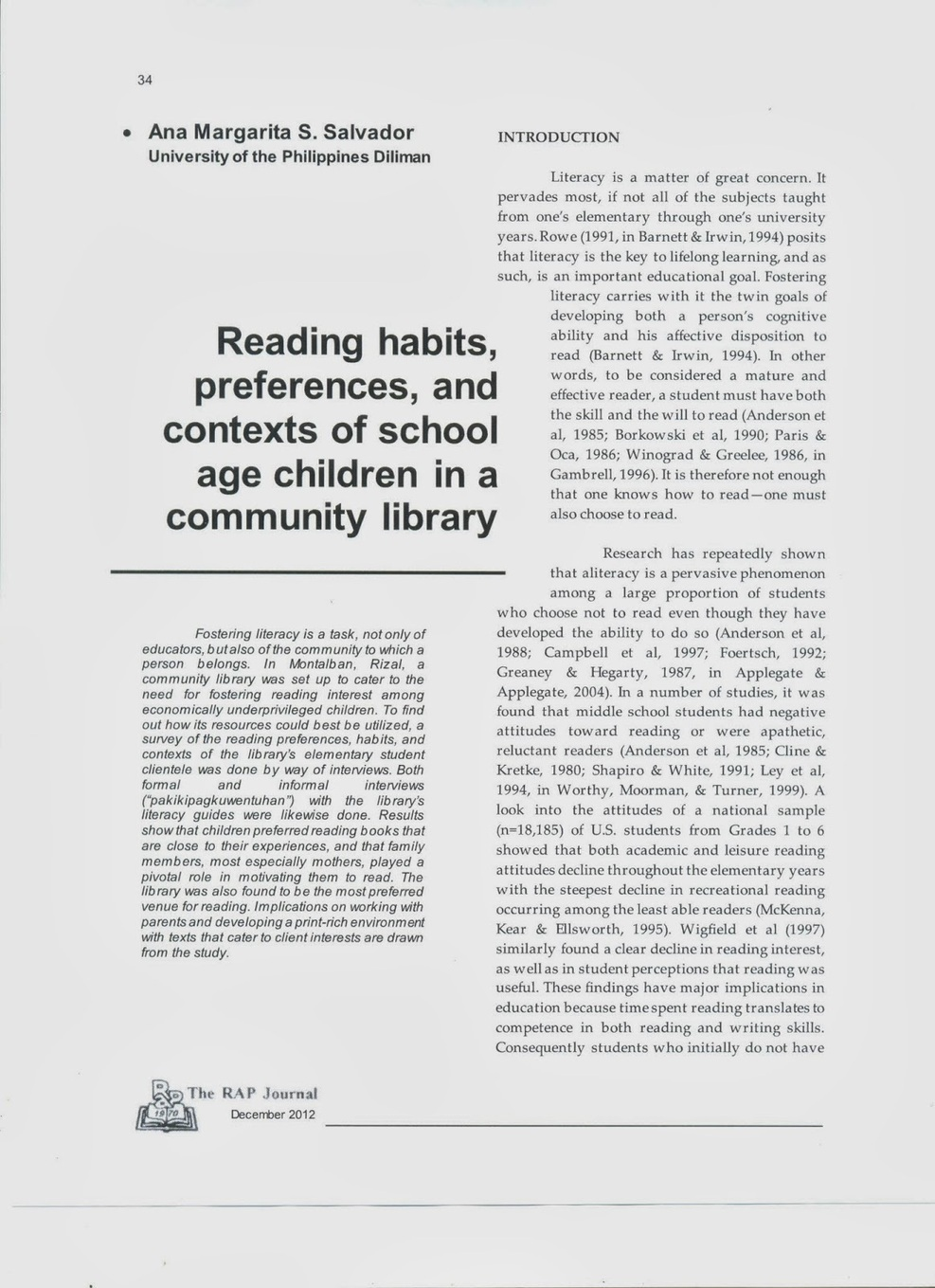 decline in reading skills among students