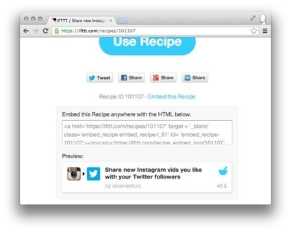 IFTTT Now Lets You Embed Shared Recipes on Your Site | Social Media, Marketing and Promotion | Scoop.it