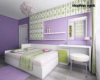 Dormitorio juvenil en lila verde y blanco de for Disenar habitacion juvenil online