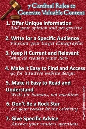 7 Cardinal Rules to Generate Valuable Content Consistently | Business Blogging Services, Social Media Consulting | Blog writers | Scoop.it