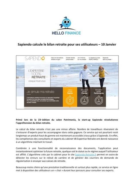 HELLOFINANCE - 10/01/2017 : Sapiendo calcule le bilan retraite pour ses utilisateurs | Sapiendo Retraite : Actualités | Scoop.it