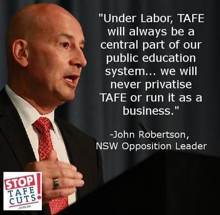 """TAFECampaign on Twitter: """"Under Labor- #TAFE will always be a central part of our public education system.. """" - @jrobertsonmp #StopTAFECuts http://t.co/7NJiuztB7u 