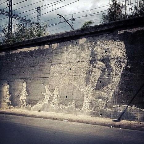 Le génial streetart en négatif de Vhils   No.   Scoop.it