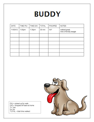 Free Dog-Walking Log Templates | Office Templat