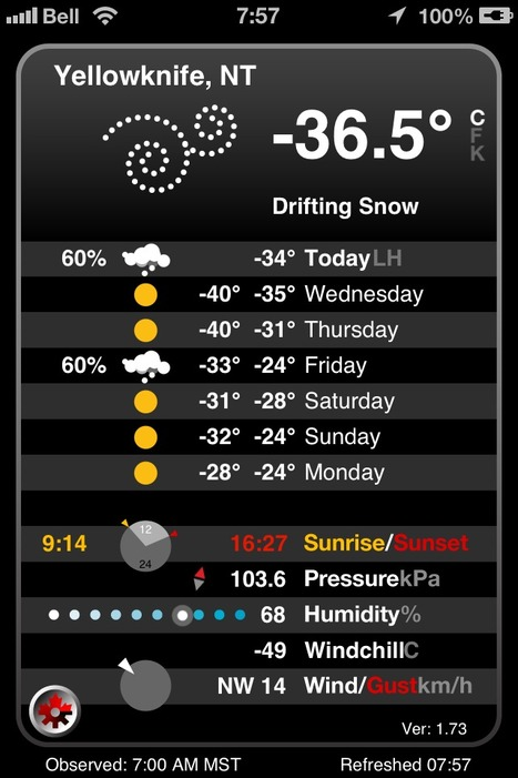 -36.5C with a -49 windchill this morning in Yellowknife, NWT | NWT News | Scoop.it