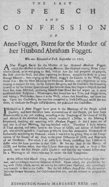 Broadside concerning the burning of Anne Fogget | British Genealogy | Scoop.it
