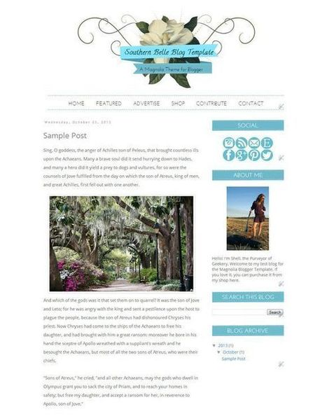 Southern Belle Blogger Template by Purveyor of Geekery on CreativeWork… | Blogger themes | Scoop.it