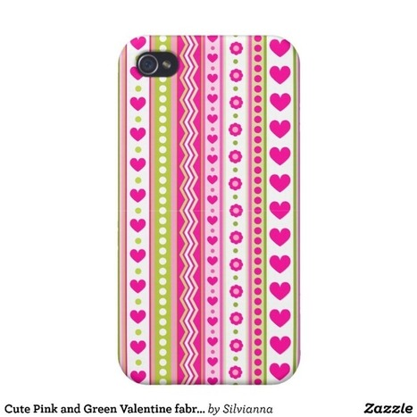 Cute Pink and Green Valentine fabric iPhone 4/4S Cases from Zazzle.com | Cute floral iPhone Cases | Scoop.it