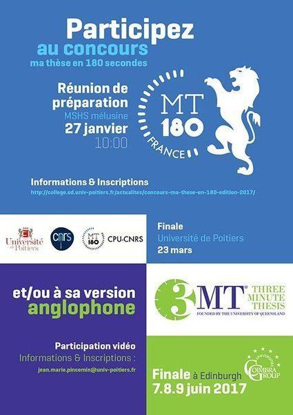 Université de Poitiers - Inscription concours Ma thèse en 180'' / MT - CG - Edition 2017 | Créativité et territoires | Scoop.it