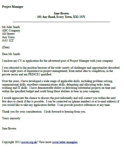 project manager cover letter example  u2013 icover org uk