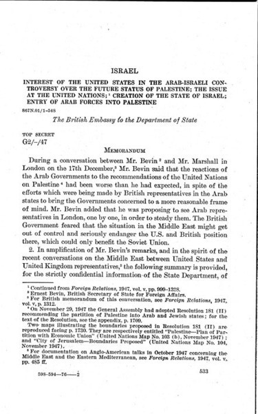 FRUS: Foreign relations of the United States, 1948. The Near East, South Asia, and Africa (in two parts): Israel | 1948 Israel War of Independence | Scoop.it