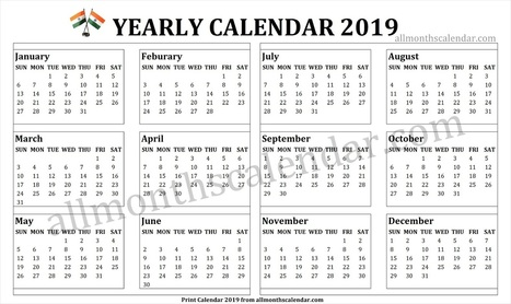 year calendar 2019 india with holidays january to december 2019