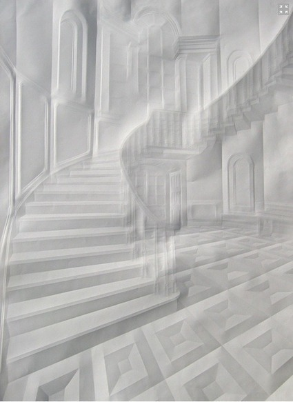 Artist Folds Creases On Paper To Form Architectural 'Drawings' - DesignTAXI.com   Visual Culture and Communication   Scoop.it