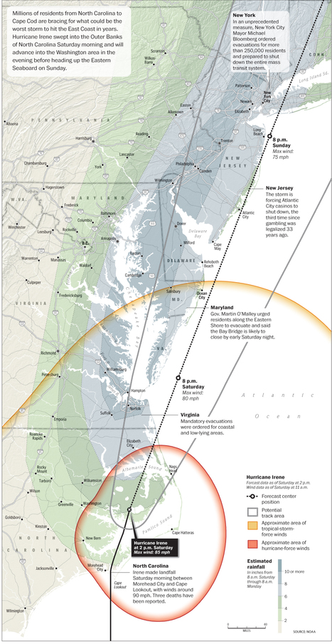 In the path of Irene - The Washington Post   Mapping NYC hurricane   Scoop.it