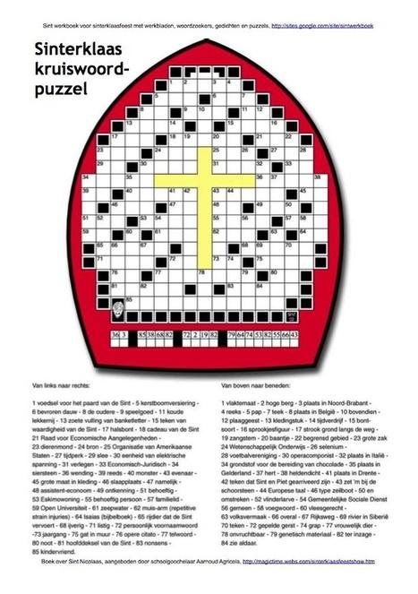 Kruiswoordpuzzel Sinterklaas in de vorm van een mijter | Sinterklaasfeest, feest met Sint Nicolaas, Zwarte Piet en goochelaar in voorprogramma | Scoop.it