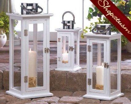 White Wood Lanterns In Shopatusm Wholesale Wedding Centerpieces